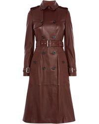 Karen Millen - Longline Leather Trench Coat - Lyst