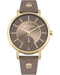 Karen Millen - Leather Strap Watch - Lyst