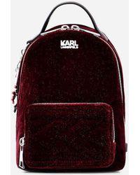 Karl Lagerfeld - Karl X Kaia Glitter Velvet Mini Backpack - Lyst