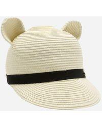 Karl Lagerfeld - Cat Ears Straw Cap - Lyst