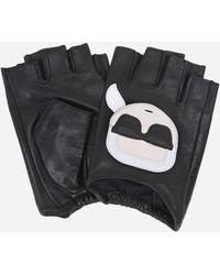 Karl Lagerfeld K/ikonik Fingerless Leather Gloves - Black