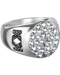 2c085a4c2 Karl Lagerfeld - Medium Metallic Signet Ring With Swarovski Crystals - Lyst
