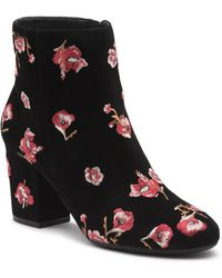 Karl Lagerfeld - Edith Floral Embroidered Bootie - Lyst