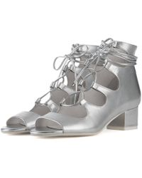 c9e16f1618a6 Jeffrey Campbell - For Women  Astute Silver Lace-up Heel Booties - Lyst