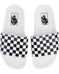 Vans - The Women s Checkerboard Slide-on In White And Black - Lyst 6a1674fa6