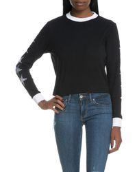 NANA JUDY - The Stars Align Long Sleeve T-shirt With Contrast Rib & Star Sleeve Embroidery - Lyst