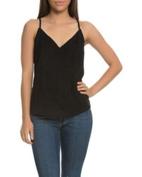 NANA JUDY - The Lola Faux Suede V Neck Cami Top With Cross Over Eyelet Back - Lyst