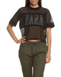 NANA JUDY - The Cobra Mesh Tee With Contrast Opaque Chest Panel & Nana Print - Lyst