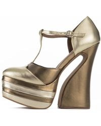 98e4304cdad0 Jeffrey Campbell - For Women  Lucetta Gold Platform Wedges - Lyst