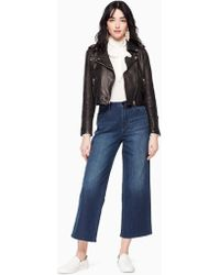 Kate Spade - Cropped Leather Jacket - Lyst