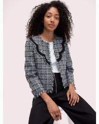 Kate Spade - Bicolor Scallop Tweed Jacket - Lyst