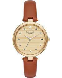 Kate Spade - Varick Brown Leather Watch - Lyst