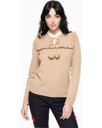 Kate Spade - Ruffled Pompom-embellished Wool And Cashmere-blend Sweater Sand - Lyst