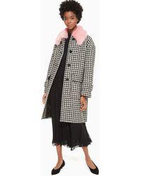 Kate Spade - Houndstooth Wool Coat - Lyst