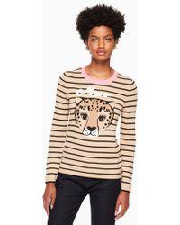 Kate Spade - Leopard Stripe Sweater - Lyst