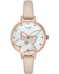 Kate Spade - Metro Flower Vachetta Leather Watch - Lyst