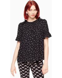 Kate Spade - Scatter Dot Ruffle Top - Lyst