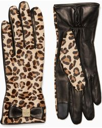 Kate Spade - Cheetah Leather Gloves - Lyst