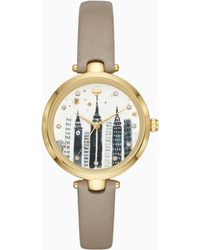 Kate Spade - Holland Cityscape Grey Leather Watch - Lyst