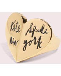 Kate Spade - Heritage Spade Heart Ring - Lyst