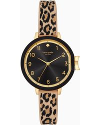 Kate Spade - Park Row Leopard-print Silicone Watch - Lyst