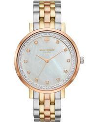 Kate Spade - Monterey Tri-tone Mother-of-pearl & Crystal Analog Bracelet Watch - Lyst