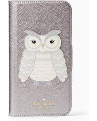 Kate Spade - Owl Applique Folio Iphone X Case - Lyst