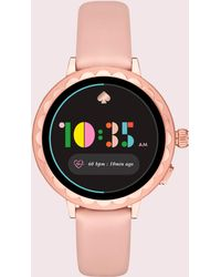 Kate Spade - Scallop Pale Vellum Leather Smartwatch - Lyst