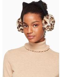 Kate Spade - Faux Leopard Earmuff With Ears - Lyst