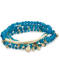 Kendra Scott - Supak Gold Beaded Bracelet Set In Aqua Variegated Howlite Mix - Lyst