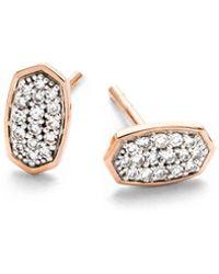 Kendra Scott - Gypsy Stud Earrings In White Diamond And 14k Rose Gold - Lyst