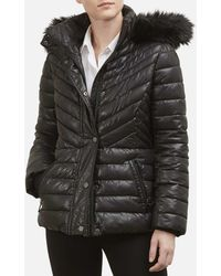 Kenneth Cole - Faux Fur Trimmed Short Puffer Coat - Lyst