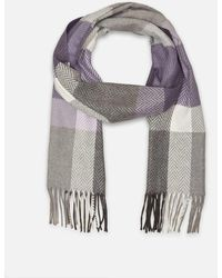 Kenneth Cole - Chevron Box Check Fringed Scarf In Cashmink - Lyst