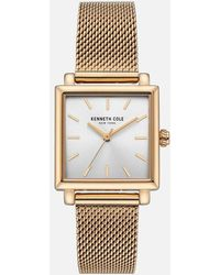Kenneth Cole - Square Face Gold Mesh Watch - Lyst