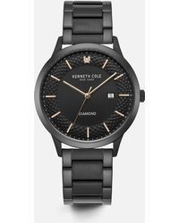 Kenneth Cole - Black Stainless Steel Round Watch With Stones - Lyst