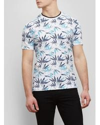 Kenneth Cole Reaction - Short-sleeve Allover Palm Print Crew - Lyst
