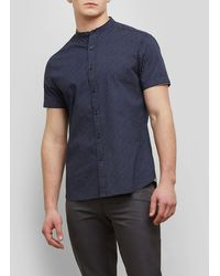 Kenneth Cole - Short-sleeve Collarband Micro Print Shirt - Lyst