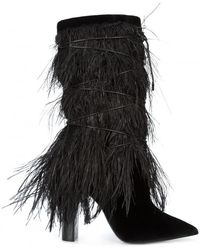 Saint Laurent - Ostrich Feather Calf Boot - Lyst