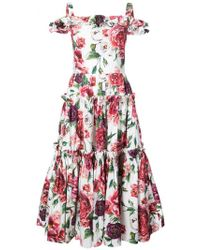 Dolce & Gabbana - Floral Print Tier Dress - Lyst