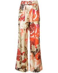 By. Bonnie Young - High-rise Rose Print Trousers - Lyst