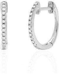 EF Collection | Diamond Mini Huggie Earrings | Lyst
