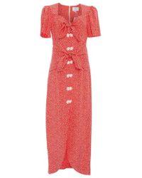 Rebecca de Ravenel - Zaza Silk Midi Dress - Lyst