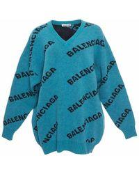 Balenciaga - Oversized Wool Logo Sweater - Lyst