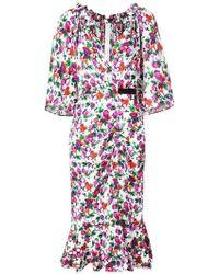 Saloni - Olivia Floral Midi Dress - Lyst
