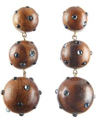 Rebecca de Ravenel - Classic Three Drop Dark Wood And Denim Earrings - Lyst