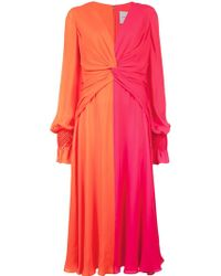 Carolina Herrera - Bicolor Midi Dress - Lyst