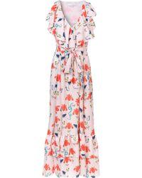 Borgo De Nor - Butterfly Print Wrap Style Ruffled Tie Waist Dress - Lyst
