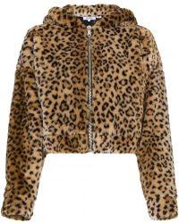 RE/DONE Faux Leopard Jacket With Hood Ears
