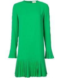 Sara Battaglia - Long-sleeved Pleated Skirt Dress - Lyst