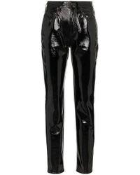 Saint Laurent - Mid-rise Slim Fit Vinyl Trousers - Lyst